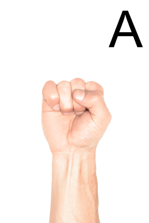 cropped view of man showing cyrillic letter, sign language, isolated on white