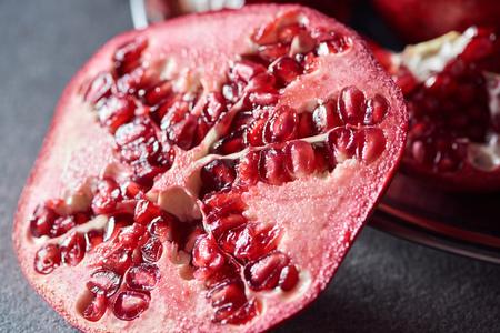 Close up shot of fresh cut pomegranate