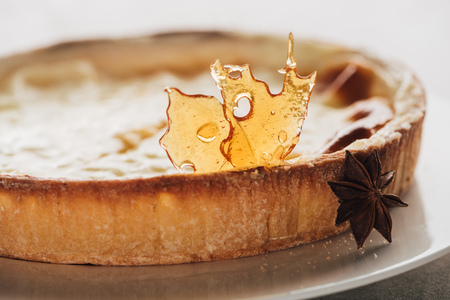 Close-up view of gourmet flan cake with caramel and star anise on white plate