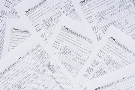 Top view of background with tax forms and copy space 写真素材 - 116387916