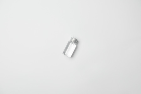 Top view of transparent cometic bottle on white background with copy space 版權商用圖片