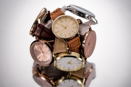 selective focus of swiss wristwatches on grey background Banque d'images - 116464728