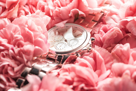 swiss wristwatch lying on blooming pink flowers Stock Photo - 116464841
