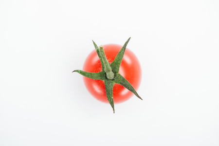 top view of fresh red ripe juicy tomato isolated on white Stock Photo - 116464950