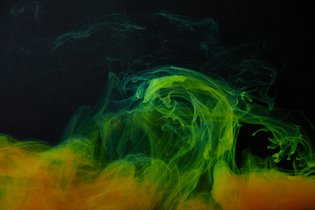 background with abstract green and orange swirls of paint