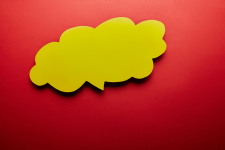 top view of empty thought bubble on red background