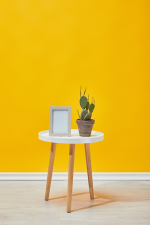 Cactus and photo frame on coffee table near yellow wall