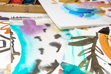 selective focus of abstract watercolor drawings with floral print