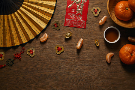 top view of chinese new year composition on wooden surface Banque d'images - 116408101