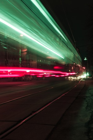 long exposure of city street with colorful blurred lights 写真素材