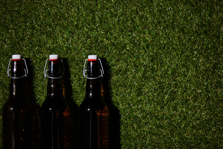 top view of brown bottles with beer lying on grass