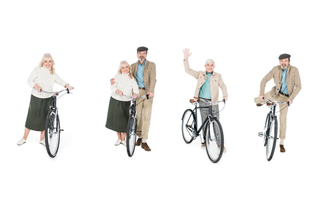 collage of cheerful pensioners standing near bicycles isolated on white