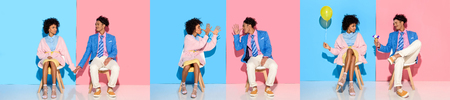 collage of young african american man and woman sitting, holding hands and fooling around on blue and pink background