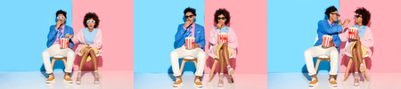 collage of young african american man and woman putting on dark glasses, sitting and eating popcorn on blue and pink background Standard-Bild - 117783615