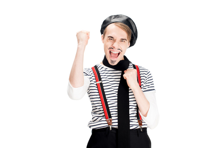 excited french man in black beret celebrating winning isolated on white