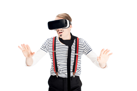 man with mustache using virtual reality headset isolated on white