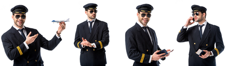 collage of handsome pilot in black uniform holding toy plane, passport and talking on smartphone isolated on white