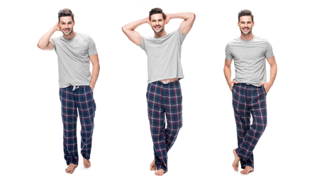collage of handsome relaxing young man in pajama standing and smiling isolated on white
