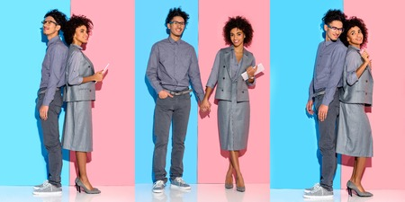 collage of young african american businesswoman and man holding hands and working with gadget on blue and pink background