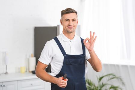 smiling adult repairman holding pliers while showing ok sign and looking at camera Фото со стока