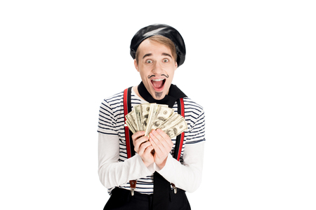 cheerful  french man holding dollar banknotes in hands isolated on white