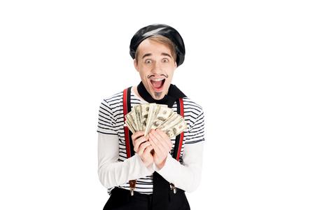 Joyeux homme français tenant des billets en dollars dans les mains isolated on white