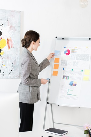 attractive businesswoman in grey suit standing near flipchart and preparing for presentation in office