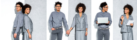 collage of young african american businesswoman and man holding hands, working with gadgets on grey and white background