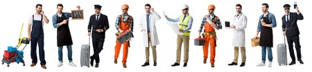 collage of handsome man showing different professions isolated on white Stok Fotoğraf