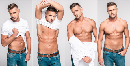 collage of handsome man taking off white t-shirt and stripping torso on gray background