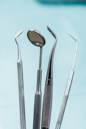 close up of medical instruments in dental clinic