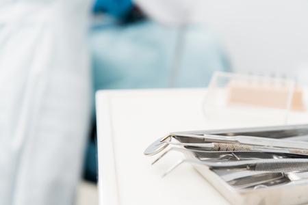 selective focus of metallic instruments in dental clinic Imagens