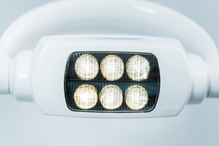 close up of modern surgical lamps with lights in dental clinic Imagens