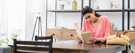 indian woman with bindi studying at home with books Stock Photo - 117468016