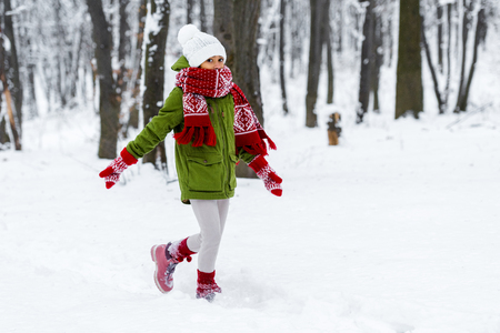 african american child in warm clothing walking and looking at camera in winter park 写真素材