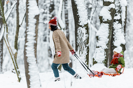african american daughter with mother riding on sleigh near trees in snowy forest Imagens