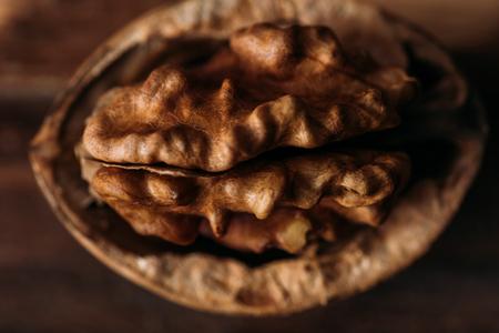 top view of walnut in nut shell as dementia symbol Zdjęcie Seryjne