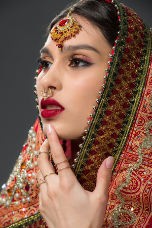 indian beauty posing in traditional sari and bindi, isolated on grey