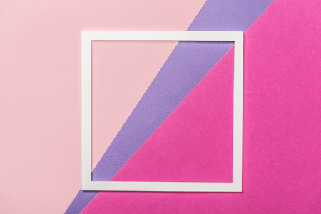 white paper square frame on tricolor background