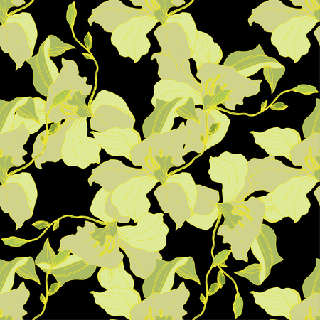 Vector Yellow Orchid. Floral botanical flower. Seamless background pattern. Fabric wallpaper print texture. Engraved ink art on black background.