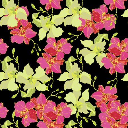 Vector Pink and yellow Orchid. Floral botanical flower. Seamless background pattern. Fabric wallpaper print texture. Engraved ink art on black background.