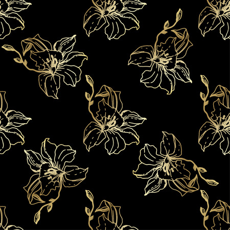 Vector Golden Orchid. Floral botanical flower. Seamless background pattern. Fabric wallpaper print texture. Engraved ink art on black background.