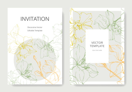 Vector Yellow, green and orange Orchid flower. Engraved ink art. Wedding background card floral decorative border. Thank you, rsvp, invitation elegant card illustration graphic set banner.