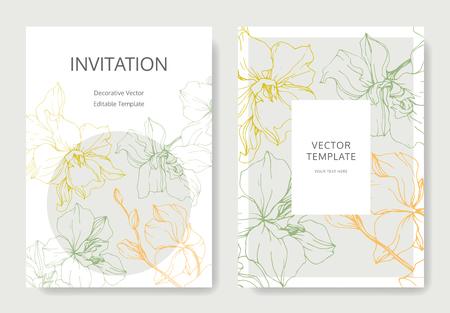 Vektor Gelbe, grüne und orange Orchideenblume. Gravierte Tintenkunst. Hochzeit Hintergrundkarte floral dekorative Grenze. Danke, Rsvp, Einladung elegante Kartenillustrations-Grafiksatzfahne.