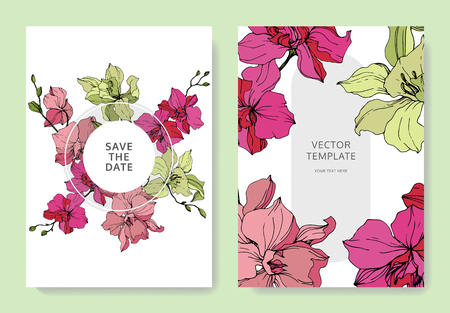Vector Yellow and pink Orchid. Floral botanical flower. Engraved ink art. Wedding background card floral decorative border. Thank you, rsvp, invitation elegant card illustration graphic set banner. Ilustrace
