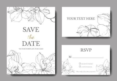 Vector Orchid. Floral botanical flower. Silver engraved ink art. Wedding background card floral decorative border. Thank you, rsvp, invitation elegant card illustration graphic set banner.