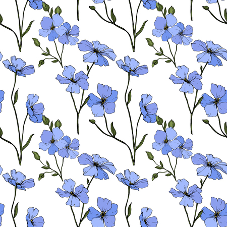 Vector. Blue flax. Floral botanical flower. Spring leaf wildflower. Engraved ink art. Seamless pattern on white background. Fabric wallpaper print texture.