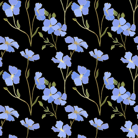 Vector. Blue flax. Floral botanical flower. Spring leaf wildflower. Engraved ink art. Seamless pattern on black background. Fabric wallpaper print texture.