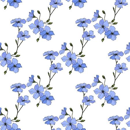 Vektor. Blauer Flachs. Botanische Blumenblume. Frühlingsblatt Wildblumen. Gravierte Tintenkunst. Nahtloses Muster auf weißem Hintergrund. Stofftapete Drucktextur.