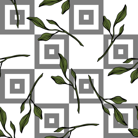Vector. Green leaf plant botanical garden floral foliage. Engraved ink art. Seamless pattern on white background. Fabric wallpaper print texture.